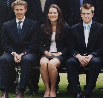 Alongside her 'first love' Willem Marx (left), in a school pic from her time at Marlborough College.