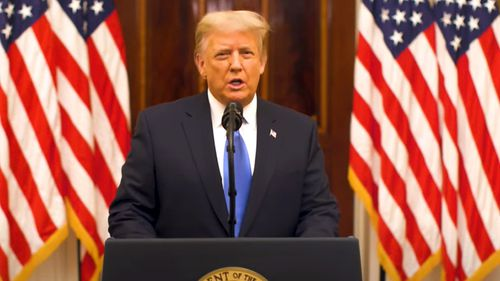 Donald J. Trump addresses the American people as the US President for the final time.