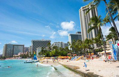 Tourists at Waikiki Beach, Honolulu