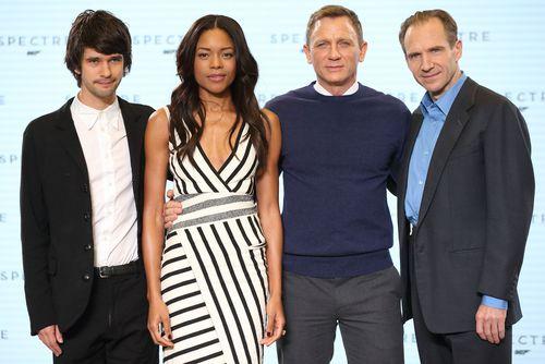 On Her Majesty's Secret Service: Ben Whishaw (Q), Naomie Harris (Miss Moneypenny), Daniel Craig (James Bond) and Ralph Fiennes (M). (Getty)