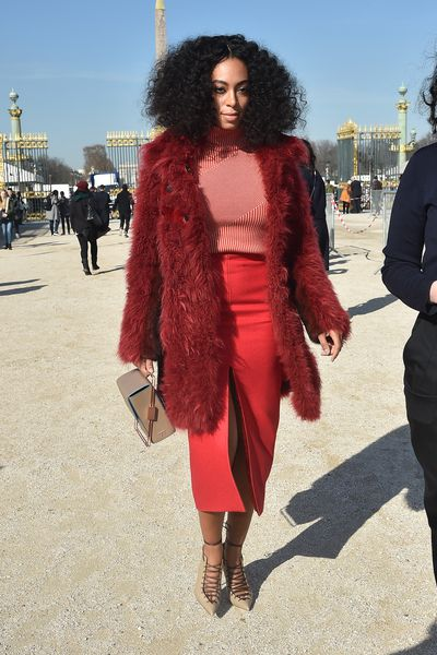Solange Knowles shows us how it's done - red, red and a little more red.