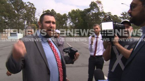 Angry scenes outside a mosque at Darra. Picture: 9News