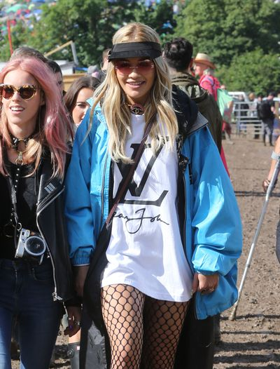 Rita Ora used Glastonbury as an opportunity to show off her extensive hat collection, starting with a visor for day one.