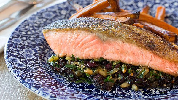 Garlic chilli salmon with pine nuts and cranberries