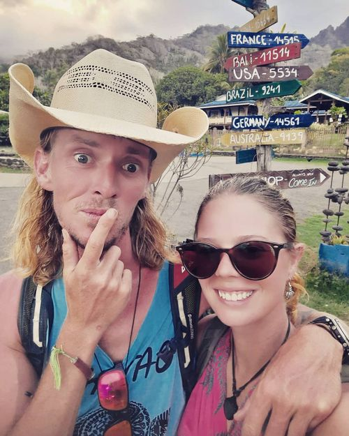Jake and Tamara in Hiva-Oa, in the Marquesas Islands, after 39 days at sea on a leaky yacht.