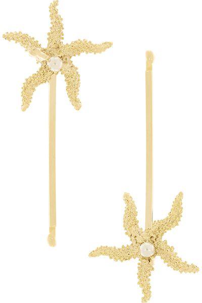 """<a href=""""Profondo gold-tone pearl hair slides, $69.99, Rosantica"""" target=""""_blank"""">Profondo gold-tone pearl hair slides, $69.99, Rosantica</a>"""