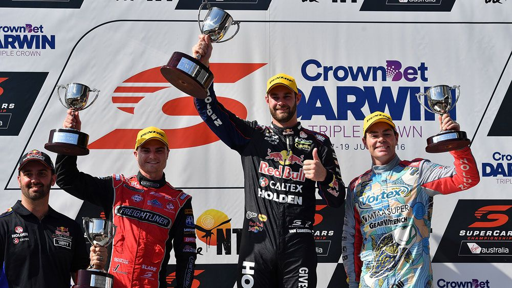 Shane van Gisbergen on top of the podium. (Getty)