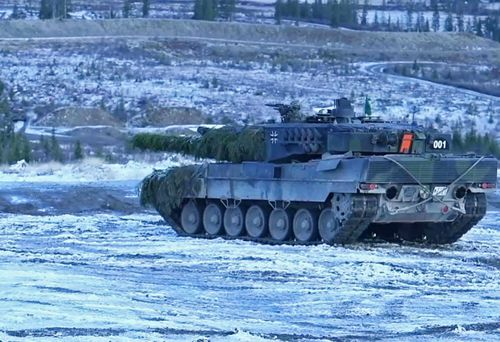 A German Leopard tank carries out firing practice in the NATO war games held in Scandanavia.