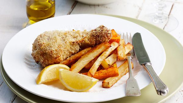 Crispy lemon chicken drumsticks and chips for $12.80