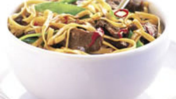 Spicy orange lamb noodle stir-fry