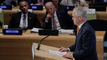 Malcolm Turnbull address the UN. (AAP)