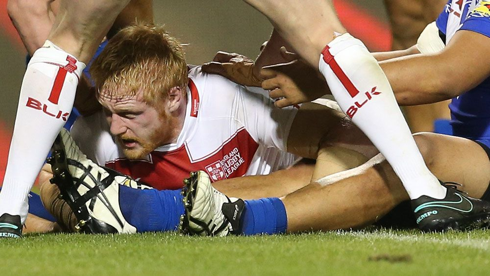James Graham scores a try for England against Samoa. (AAP)