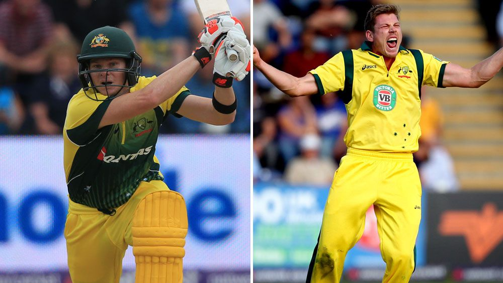 Steve Smith (l) and James Faulkner. (AAP)