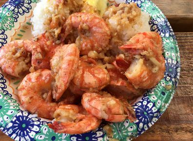 Shrimp plate with rice at Giovanni's