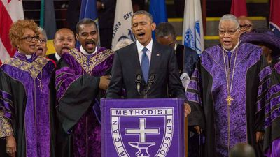 Obama repeatedly tried and failed to pass gun control legislation in the wake of numerous mass shootings. After the 2015 Charleston massacre, Obama shocked a South Carolina congregation by breaking into song during a eulogy. (AP)