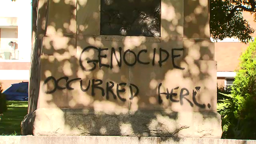 Two statues in a Brisbane CBD park have been defaced with Black Lives Matter statements