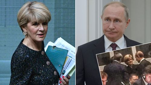 JUlie Bishope and Vladimir Putin meeting