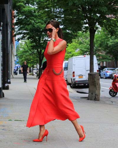 Victoria Beckham in a dress of her own design in New York City June 2014