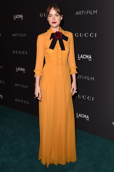 Dakota Johnson, in Gucci, at the LACMA 2015 Art and Film Gala in Los Angeles, November, 2015