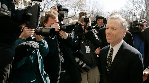 """Lewis """"Scooter"""" Libby, Vice President Dick Cheney's former chief of staff, walks to the US District Court in Washington in November 2005. (AP)"""