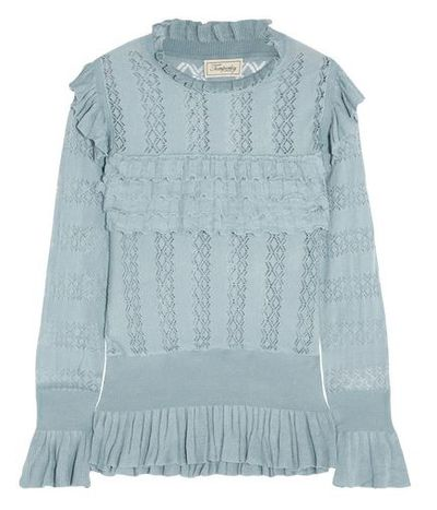 "Absolutely has to be Temperley London but you already own the dress? Try this <a href=""https://www.net-a-porter.com/au/en/product/913584?cm_mmc=Google-ProductSearch-AU--c-_-Net-a-Porter-AUPLA-_-AU-GS-KNITWEAR--Knitwear+push-_-__pla-345646751888_APAC&amp;gclid=EAIaIQobChMI34DHwNvn1gIVWH69Ch1_RQw1EAYYAiABEgKJjfD_BwE&amp;gclsrc=aw.ds"" target=""_blank"" draggable=""false"">Cypre Ruffled Pointelle-Knit Sweater, $598.10.</a>"