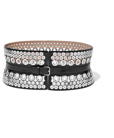 "The belt:<a href=""https://www.net-a-porter.com/au/en/product/755053/Alaia/eyelet-embellished-leather-waist-belt"" target=""_blank"">Alaia</a>waist-cinching belt, $1,289"