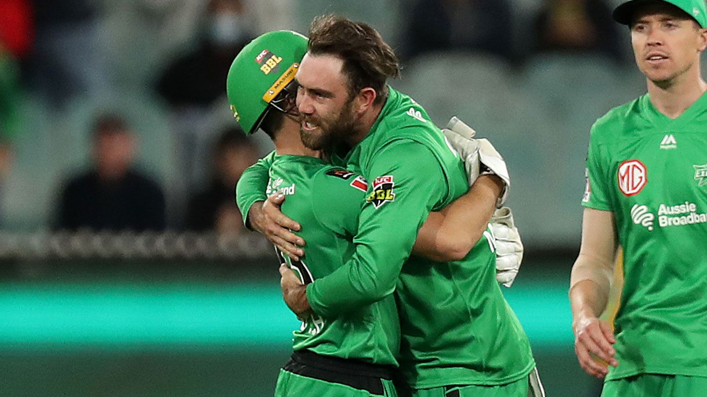 Glenn Maxwell of the Stars celebrates the dismissal of Alex Carey