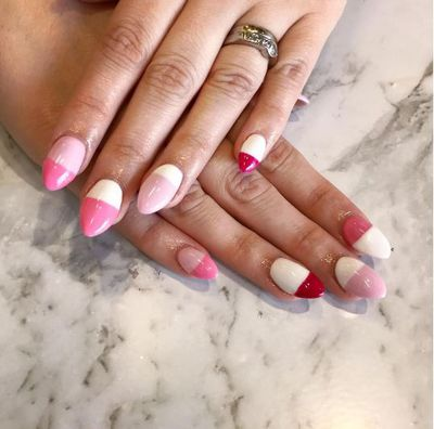 Colour blocking nails with a millennial pink twist.