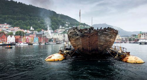 The wreck of the Maud is towed into the Norwegian port of Bergen.