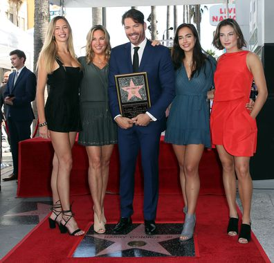 Harry Connick Jr, wife Jill wife Goodacre, daughters Georgia, Charlotte, Sarah, Hollywood Walk of Fame, ceremony
