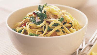 "Recipe: <a href=""http://kitchen.nine.com.au/2016/05/17/20/29/linguine-with-tuna-lemon-and-rocket"" target=""_top"">Linguine with tuna, lemon and rocket</a>"