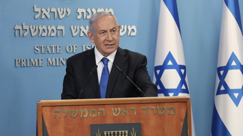 Israel's Prime Minister Benjamin Netanyahu announces full diplomatic ties will be established with the United Arab Emirates, during a news conference on Thursday, Aug. 13, 2020 in Jerusalem. (Abir Sultan/Pool Photo via AP)