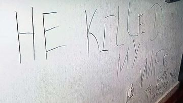 The message scrawled on the wall of two Boston doctors' home during their murder.