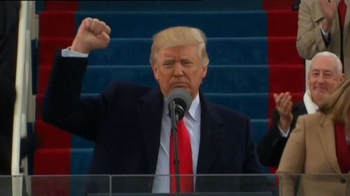 President Trump making his inauguration speech in Washington.