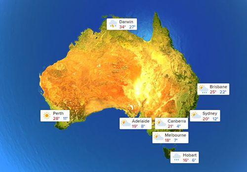 Australia's national weather forecast for Thursday, November 8.