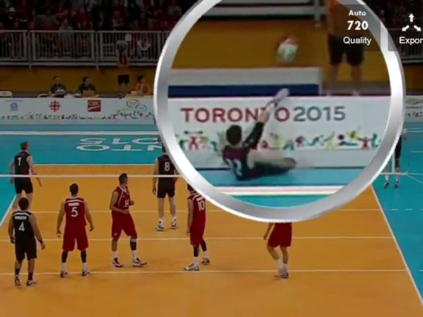 Volleyballer pulls off stunning football kick to save point