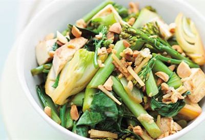 Stir-fried asian greens with tofu