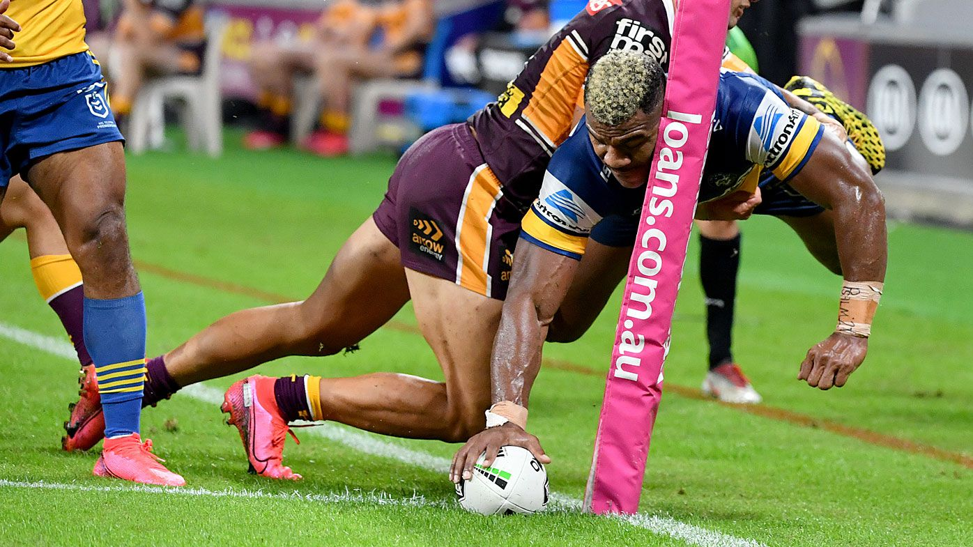 Maika Sivo of the Eels scores a try in the corner during the Round 3