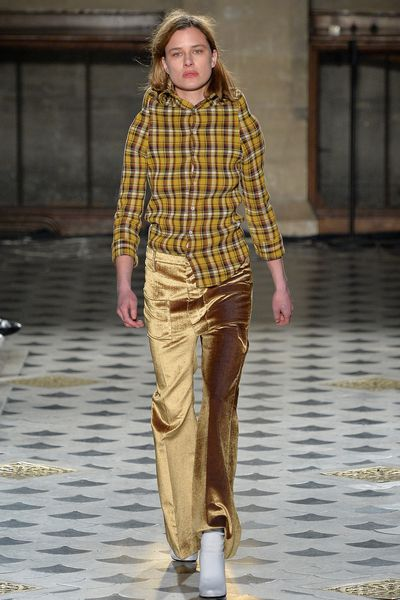 <strong>Velvet</strong><br><br>As seen at: Vetements, Dries Van Noten and Haider Ackerman<br><br> How to: Pair with casual separates like plaid shirts and sneakers to play down the luxe element for day.