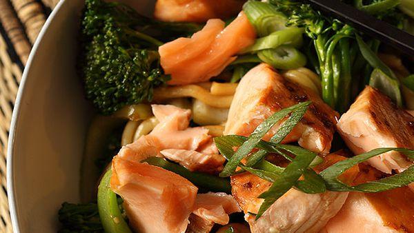 Teriyaki salmon with hokkien noodles and greens