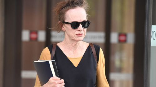 Actor Judy Davis leaves the Federal Court after giving evidence in the Geoffrey Rush defamation case in Sydney, Monday, October, 29, 2018.