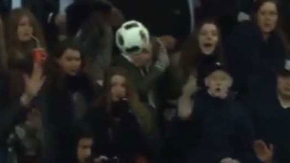 Smoking woman hit in head by ball mid-match