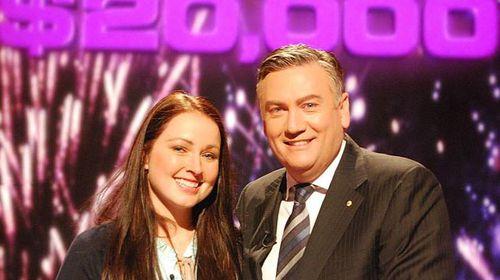Millionaire Hot Seat winner Bri Dredge with host Eddie McGuire.