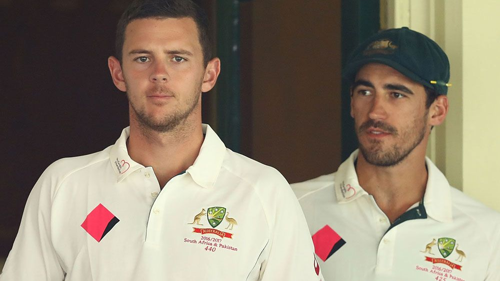 Australia's Mitchell Starc and Josh Hazlewood on track ahead of Ashes against England