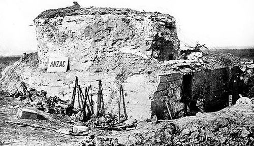 The heavily-fortified bunker known as 'Anzac House' that was captured by Australian soldiers in 1917. (Photo: Australian War Memorial).