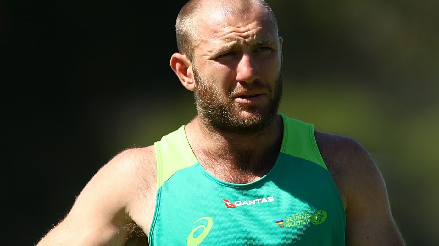 James Stannard of Australia warms up prior to the Australian Rugby Sevens practice match against New Zealand at Newington College on March 29, 2018 in Sydney, Australia.
