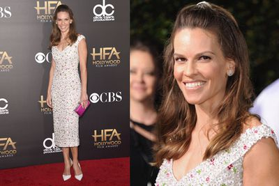 Double Oscar winner Hilary Swank looks straight out of <i>The Babysitters' Club</i> with this updo.