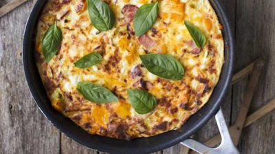 "Recipe: <a href=""http://kitchen.nine.com.au/2017/03/22/09/35/bacon-caramelised-pumpkin-and-feta-frittata"" target=""_top"">Bacon, caramelised pumpkin and feta frittata</a>"