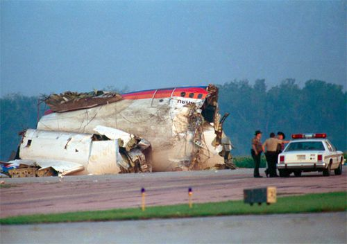 An engine and debris sit in a corn field after United Airlines Flight 232 crashed and broke into pieces July 19, 1989, while attempting to make an emergency landing at the Sioux City Gateway Airport. Of the 296 people on board, 111 were killed in the crash leaving 185 survivors. The flight was going from Denver to Chicago.