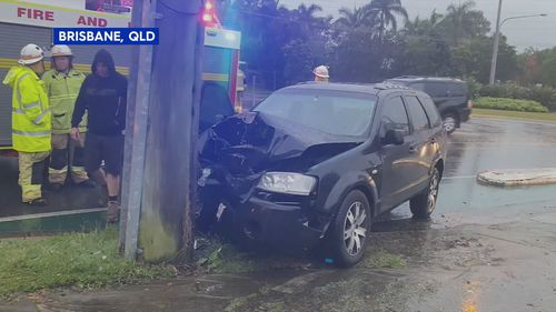 A car accident in Brisbane amid the wet weather.